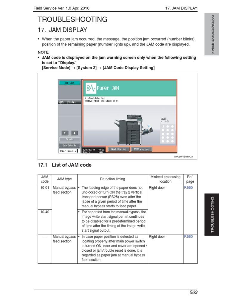 Minolta Bizhub 363 423 Troubel Service Manual   Charge