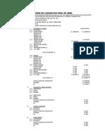 Resumen de Liquidacion de Contrato de Obra 2016