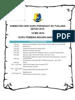 Aturcara Sambutan Hari Guru SKTS 2016
