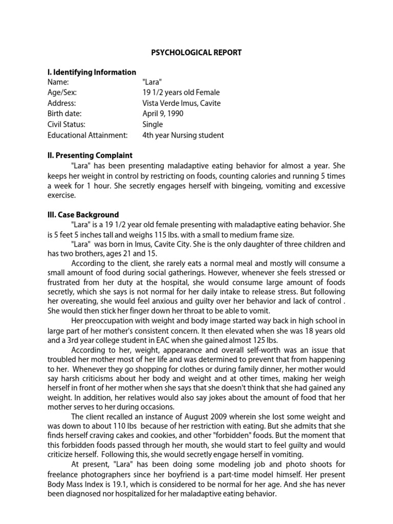 psychological report sample Psychosocial Report (Psychological Report) | Bulimia Nervosa | Eating