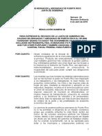 Resolucion de La Junta de Gobierno Del Caapr en Rechazo a La Junta de Control Fiscal
