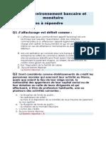 QCM CDG Environnement Bancaire Et Monétaire