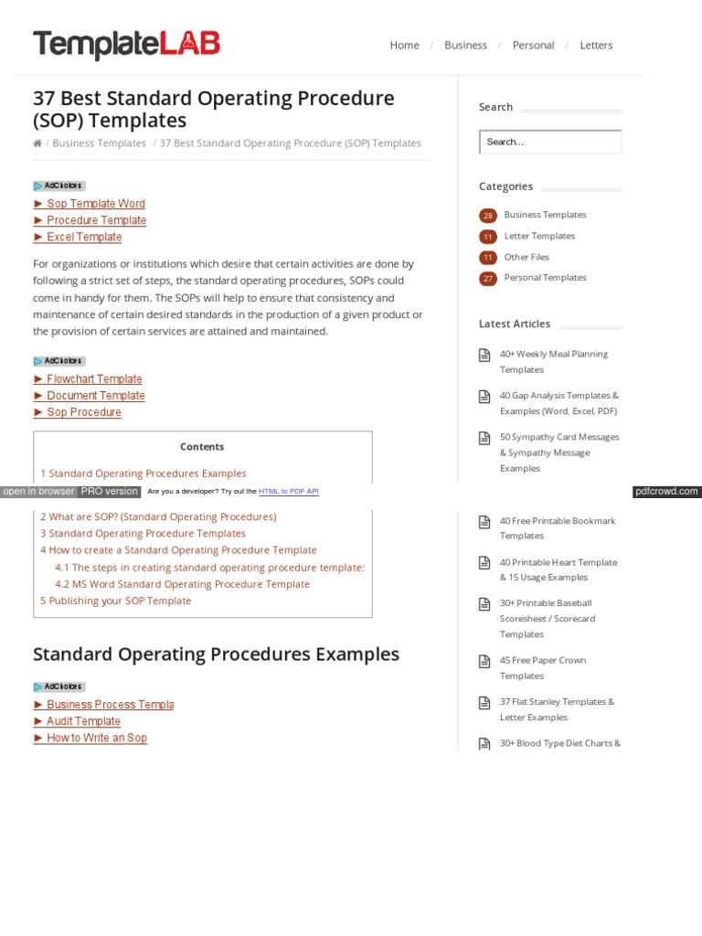 Sop Templates Pdf | Templatelab Com Sop Templates Html Web Browser
