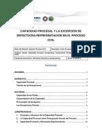 Capacidad Procesal y La Excepcion de Defectuosa Representacion en El Proceso Civil