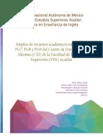 Empleo de recursos académicos en alumnos PG7, PG8 y PG9 del Centro de Enseñanza de Idiomas (CEI) de la Facultad de Estudios Superiores (FES) Acatlán