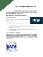 Pengertian Data Dan Menurut Para Ahli Terjelas