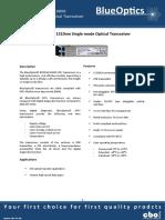 BlueOptics BO35G13610D SFP+ Transceiver 1310nm 10KM Singlemode LC Duplex 6 Gigabit