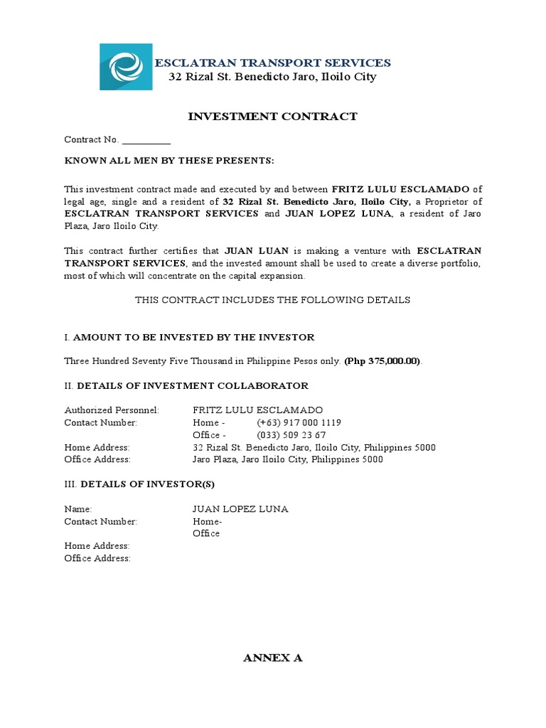 Sample Investment Contract | Investing | Investor  Investor Agreement Contract