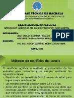 MÉTODOS DE SACRIFICIOS DEL CONEJO Y PROCESOS POST-MORTEM.