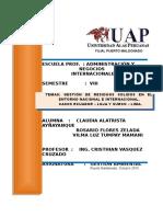 Gestión de Residuos Solidos en El Entorno Nacional e Internacional, Casos Loja y Surco