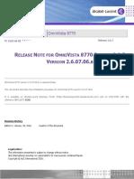 Tc2142en-Ed01 Release Note for Omnivista 8770 Release 2.6.7