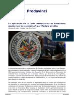 La Aplicacion de La Carta Democratica en Venezuela Cuales Son Los Escenarios Por Mariano de Alba
