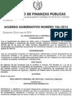 Acuerdo Gubernativo 106-2016 Viaticos