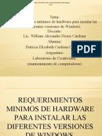 Requerimientos Minimos de Hardware Para Instalar Las Diferentes