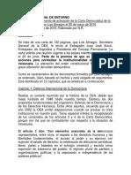 Resumen del documento de activación de la Carta Democrática de la OEA