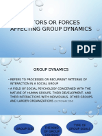 Factors or Forces Affecting Group Dynamics