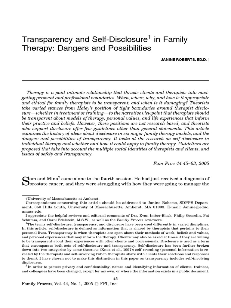 Roberts transparency and self disclosure in family therapy roberts transparency and self disclosure in family therapy dangers and possibilities family therapy psychotherapy biocorpaavc
