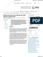 Democracia em risco no Brasil não afeta apenas o próprio país