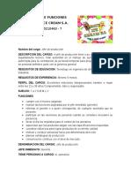 Manual de Funciones Jefe de Produccion