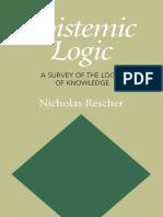 [Nicholas Rescher] Epistemic Logic