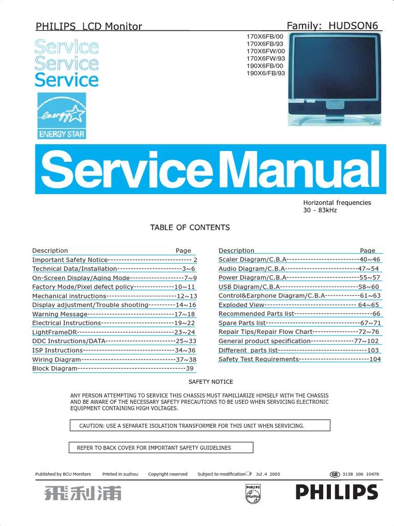 philips 190x6 170x6 service manual pixel computer monitor rh scribd com service manual manitowoc cranes service manual motorola ht600