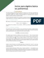 Tópicos Selectos Para Algebra Básica y Ecuaciones Polinómicas