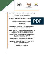 Practica No. 1 Peso Especifico de Solidos y Porcentaje de Humedad