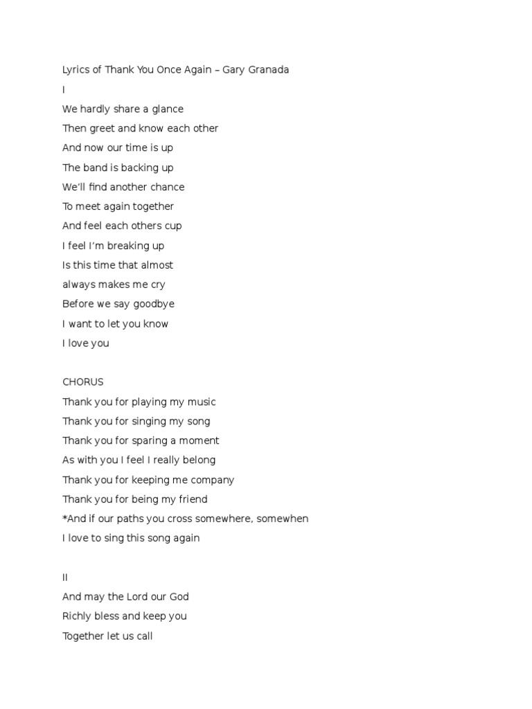 Lyrics Of Thank You Once Again Songs Entertainment General