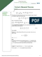 Newton's Binomial Theorem