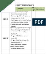 Check List Dokumen MFK