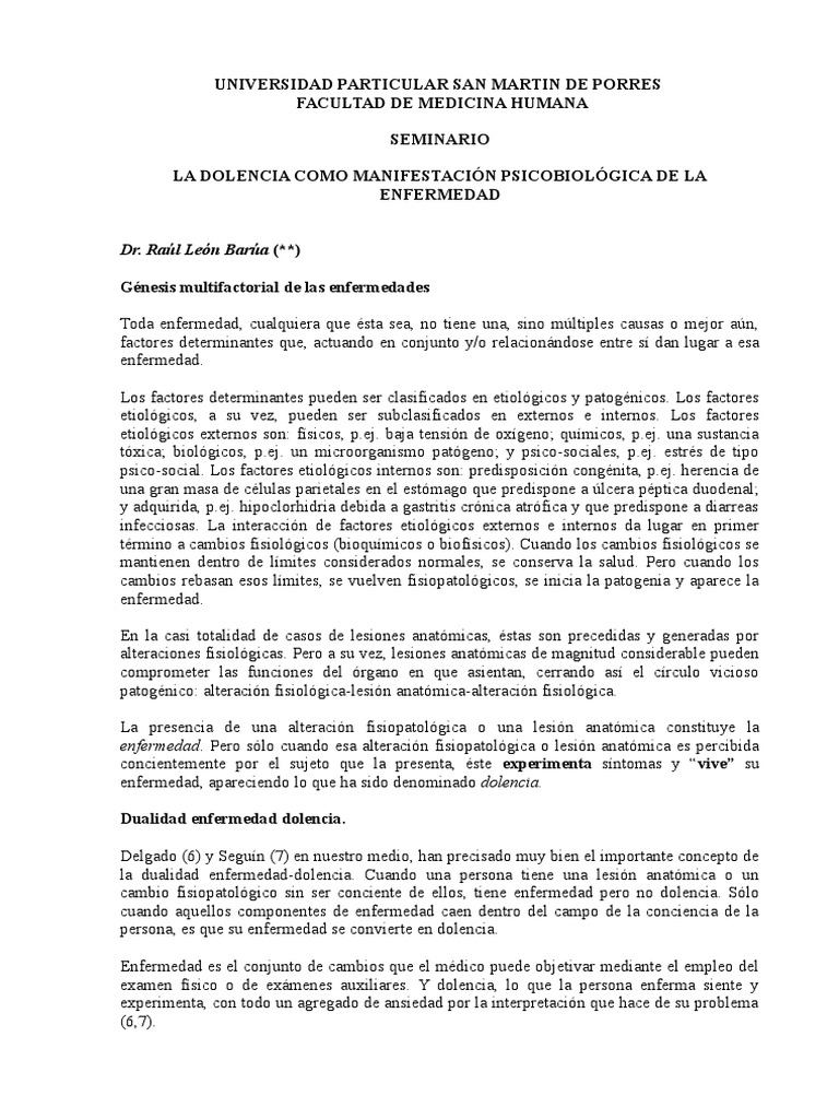 SEM 01 La Dolencia Como Manifestacion Psicobiologica de La ...