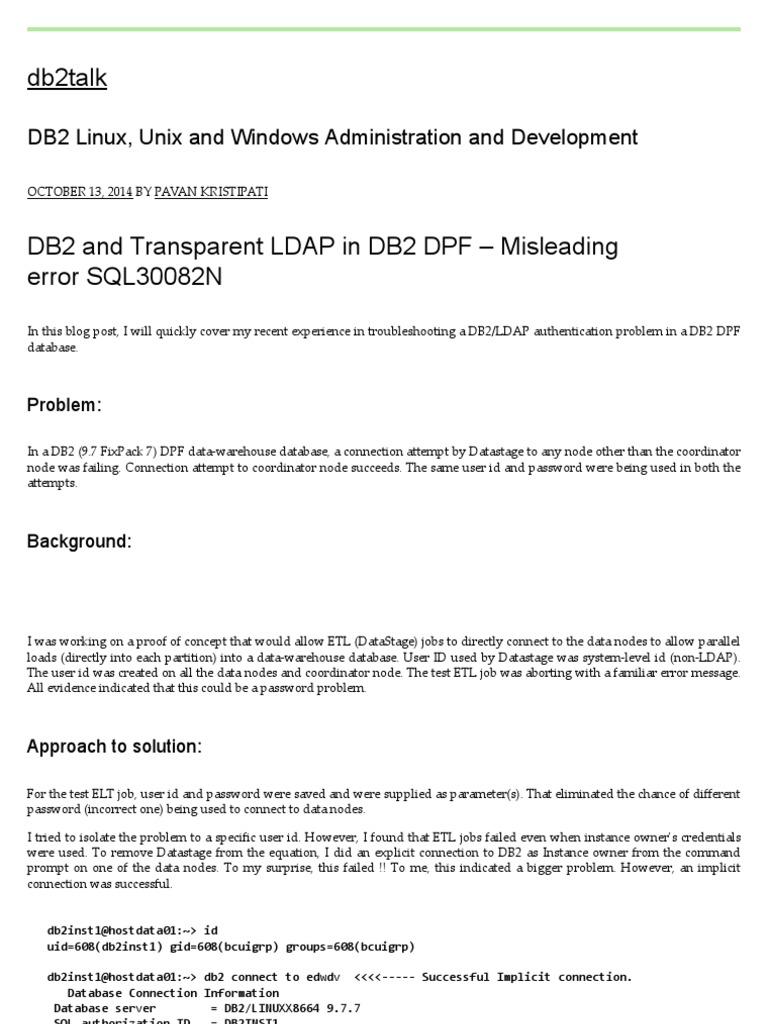 DB2 and Transparent LDAP in DB2 DPF – Misleading Error SQL30082N
