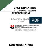Konversi Kimia Dan Reaksi Tunggal Dalam Reaktor Ideal
