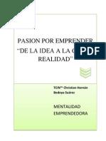 """Pasion Por Emprender """"De La Idea a La Cruda Realidad"""" ©2010 TCIN ™ Christian Hernán Bedoya"""