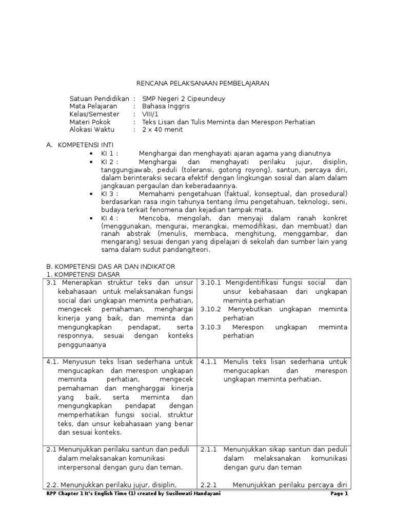 Rpp Meminta Perhatian Kelas 8