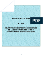 Note Circulaire 726 Relative a La Loi de Finance 2016