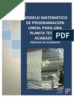 Modelo Matematico de Programación Lineal Para Una Planta Textil-proceso Acabados -2015