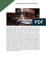 Seis Heridos Tras Accidente Entre Un Trole y Un Bus Urbano