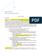 JFK Example Outlines and Works Cited