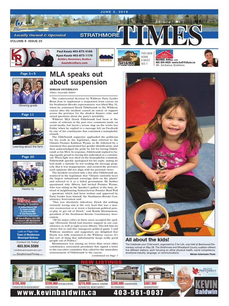 June 3, 2016 Strathmore Times | Allergy | Taxes