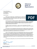 Letter to Governor Dayton re