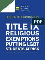 Title IX Exemptions Report