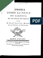 Memoria Sobre La Pesca de Sardina en Las Costas de Galicia - Cornide Saavedra