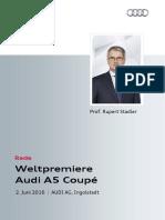 Rede Rupert Stadler bei der Weltpremieredes Audi A5 Coupé