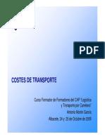 Costes de Transporte, CAP, 2009