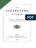 Israelites en Roumanie Par Crezzulesco Emmanuel 1879