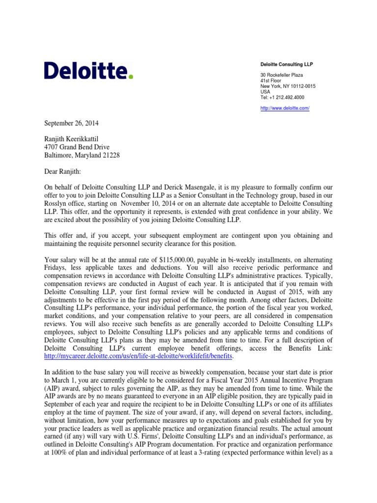 Deloitte Offer Letter Pdf