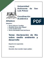 Declaración de Río Sobre Medio Ambiente y Desarrollo (Docuemento)