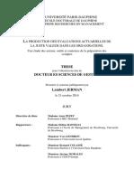 La Production Des Evaluations Actuarielles de La Juste Valeur Dans Les Organisations