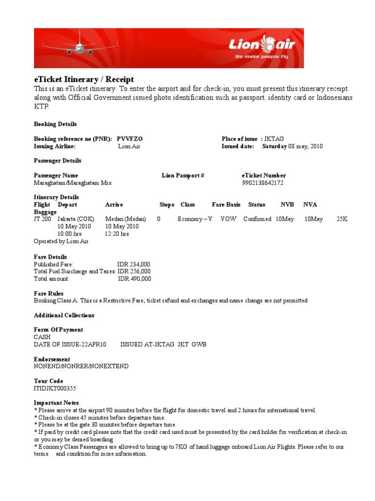 E Tiket Lion Air Document D Identite Secteurs Du Service